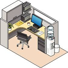 office cubicle clipart. Fine Clipart Furnished Office Cubicle Vector Art Illustration On Clipart R