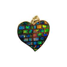 custom design opal inlay gold heart pendant large opal heart pendant necklace