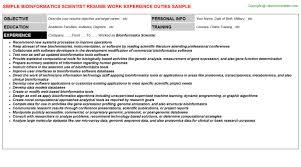 Bioinformatics Resume Bioinformatics Scientist Resume Sample