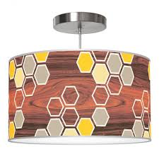 hex pattern printed linen single drum shade pendant