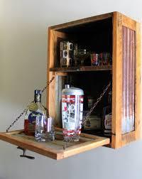 modern rustic hanging liquor bar