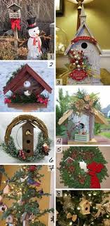 Christmas birdhouses in trees