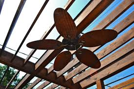 outdoor fan provides cool breeze to sunny deck