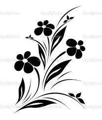 Silhouette Art Designs Vector Flower Pattern On White Background Stock Vector