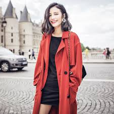 2016 brick red aw001 autumn women loose x long trench coat oversized