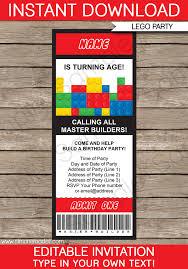 Party Ticket Invitations Extraordinary Lego Ticket Invitations Birthday Party Template