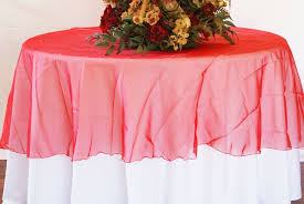 90 seamless round organza table overlay red 55012 1pc pk