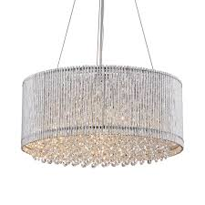 chrome round drum metal shade crystal chandelier ceiling fixture pendant