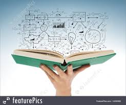 education and book concept close up of female hand holding open green book with big plan