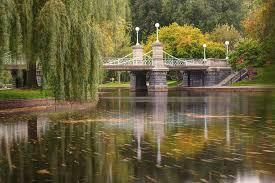 Boston Public Garden Lagoon Bridge in Autumn Photograph by Gregory Ballos
