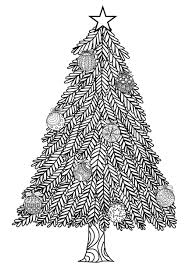 Christmas Tree With Ball Ornaments Christmas Adult Coloring Pages