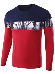 2018 Jungle Print Color Block Crew Neck Tee Red L In Long Sleeves