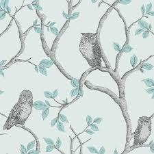 Teal Bedroom Wallpaper Fine Decor Woodland Owls Wallpaper Teal Grey Fd40638 Fine