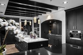 Black Kitchen Cabinets Contrast With White Quartz Countertop Also