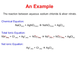 an example the reaction between aqueous sodium chloride silver nitrate chemical equation nacl