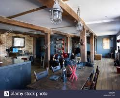 living area lighting. Open Plan Living Area With Wooden Beams And Industrial Lighting In Corbetts Wharf Apartments, UK