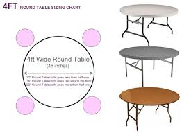 what size tablecloth for a 4ft round table