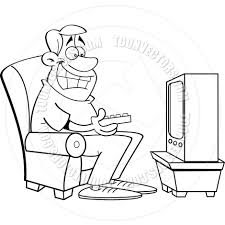 watching tv clipart black and white. cartoon man watching television (black \u0026 white line tv clipart black and