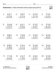 Worksheets On Subtraction With Regrouping Koogra Freeble Math ...