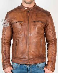 mens vintage tan leather jacket mustang front zipped
