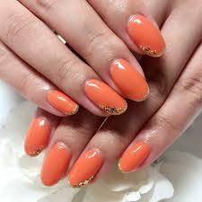オレンジネイルのおすすめ2018 秋冬シンプルラメ大人色に