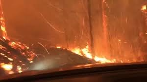 Father, son drive through fire to escape park - CNN Video