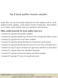 Auditing Resumes Top 8 Stock Auditor Resume Samples
