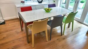 white gloss extending dining set with coloured chairs