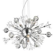 starburst collection 20 light chrome finish and clear crystal sputnik chandelier 24 d