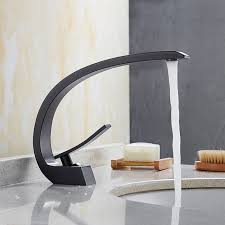 contemporary brass black spray paint ceramic valve single handle one hole bathroom sink faucet
