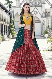 Lehenga Choli Designs Gripping Yellow And Red Designer Lehenga Choli Set