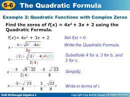example 2 quadratic functions with complex zeros