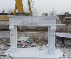 white marble fireplace mantel antique stone surround with flower carving