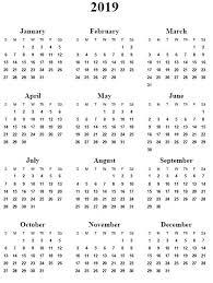 Calendar Year 2019 Printable 2019 Year At A Glance Printable Calendar 5 Best Of Year 2019