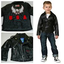 details about outdoor heritage leather jacket faux 3t toddler baby black moto usa harley 1
