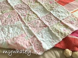 pink roses rag quilt baby blanket made