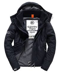 Mens - Quilted Hooded Polar Windcheater Jacket in French Navy/grey ... & Superdry Quilted Hooded Polar Windcheater Jacket Navy Adamdwight.com