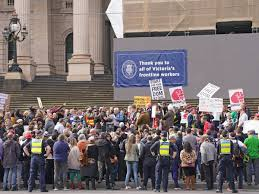Victoria premier daniel andrews called the lockdown a short, sharp circuit breaker which would ban public gatherings, home auctions, weddings and religious gatherings. Ten Arrested And Police Officer Injured At Protest Against Victoria S Covid 19 Lockdown Laws Melbourne The Guardian