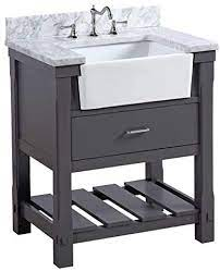 Amazon Com Charlotte 30 Inch Bathroom Vanity Carrara Charcoal Gray Includes Charcoal Gray Cabinet With Authentic Italian Carrara Marble Countertop And White Ceramic Farmhouse Apron Sink Home Improvement