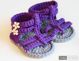 Crochet Baby Sandals Pattern Mesmerizing PURPLE GLADIATOR Crochet Baby Sandals Croby Patterns