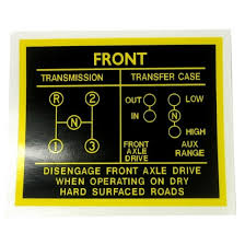 Jeep Transfer Case Identification Chart Decal Set For Glove Box Shift Pattern On Dash Fits 41 71