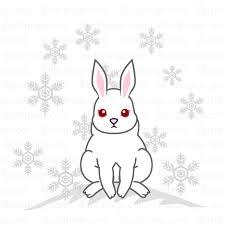 雪の白うさぎの無料イラスト素材イラストイメージ