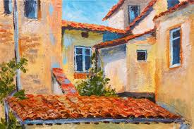colorful oil painting roofs of houses european street art impressionism stock photo