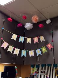 office party decoration ideas. Office Birthday Decoration For My Desk Mate Scrapbook Paper Gold Spray Paint Ribbon Tissue Flowers Party Ideas A