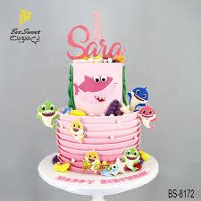 pink baby shark birthday cake bs 8172