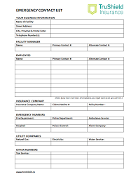 Emergency List Emergency Contact List