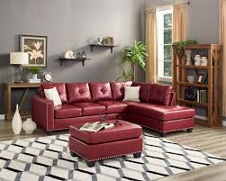oah d6139 3 pc stella red faux leather sectional sofa reversible chaise nail head trim