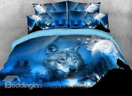 61 onlwe 3d wild wolf and natural scenery printed 4 piece bedding sets duvet covers