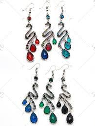 bohemian faux gemstone teardrop chandelier earrings light blue noble and elegant pqulxw