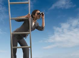career change life s too short to hate your job businessw standing on a ladder looking through binoculars